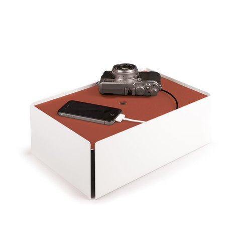 CHARGE-BOX white leather copper