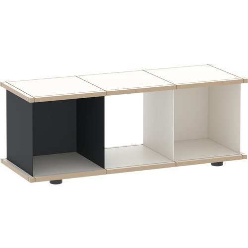 YU SHELF 3x1 / MDF white / black, white