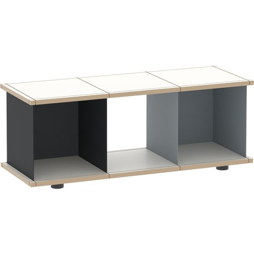 YU SHELF 3x1 / MDF white / black, grey