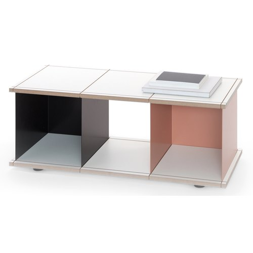 YU SHELF 3x1 / MDF white / black, beige red