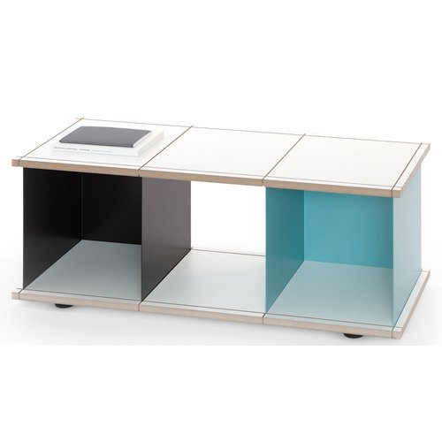 YU SHELF 3x1 / MDF white / black, turquoise