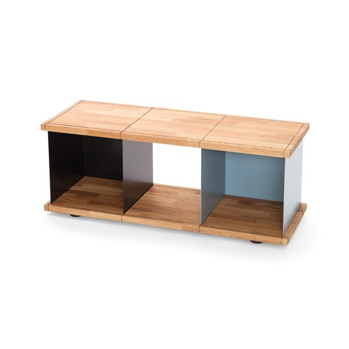 YU SHELF 3x1 / oak tree oiled / black, grey