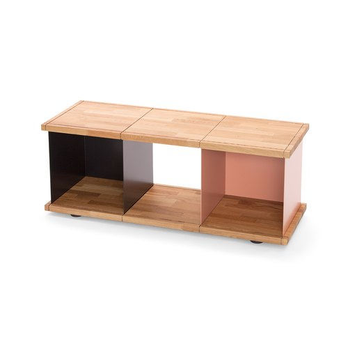 YU SHELF 3x1 / oak tree oiled / black, beige red