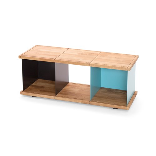 YU SHELF 3x1 / oak tree oiled / black, turquoise