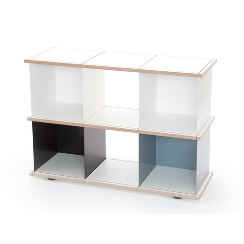 YU SHELF 3x2 / MDF white / white, black, grey