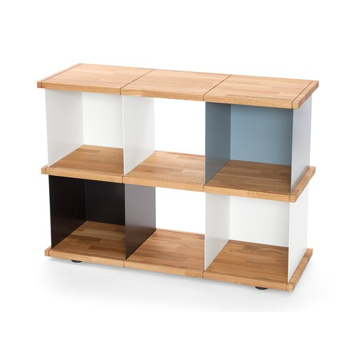 YU SHELF 3x2 / oak tree oiled / white, black, grey