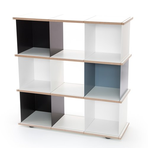 YU SHELF 3x3 / MDF white / black, white, grey