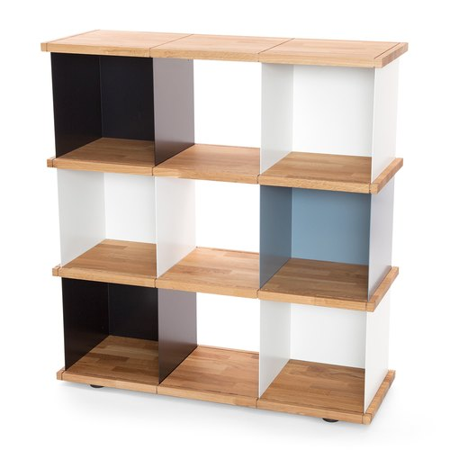 YU SHELF 3x3 / oak tree oiled / white, black, grey