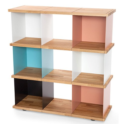 YU SHELF 3x3 / oak tree oiled / white, black, beige red,...