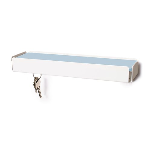 KEY-BOX white leather light blue
