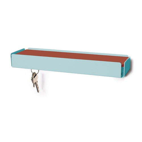 KEY-BOX turquoise pastel cuir cuivre
