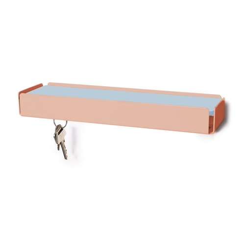 KEY-BOX beige red leather light blue