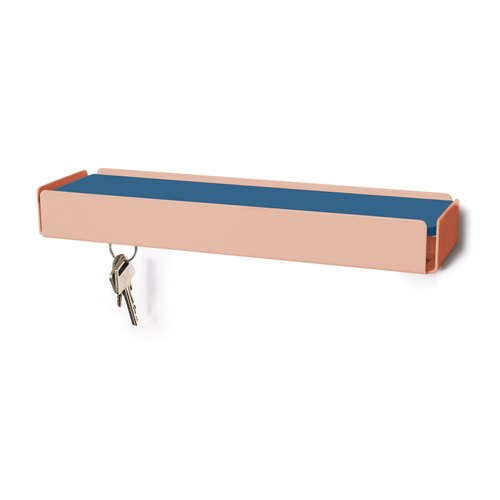 KEY-BOX beige red leather smoke blue