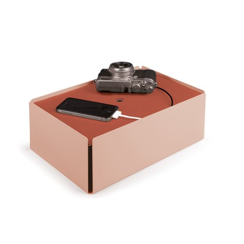 CHARGE-BOX beige red leather copper