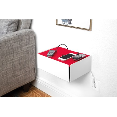 CHARGE-BOX beigerot Leder kupfer