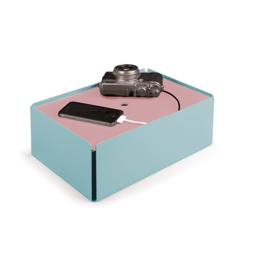 CHARGE-BOX turquoise pastel cuir rosé