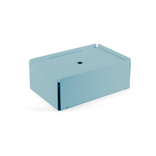 CHARGE-BOX turquoise pastel cuir bleu clair