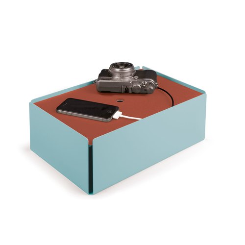 CHARGE-BOX turquoise pastel cuir cuivre