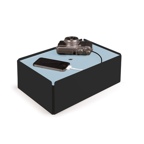 CHARGE-BOX black leather light blue