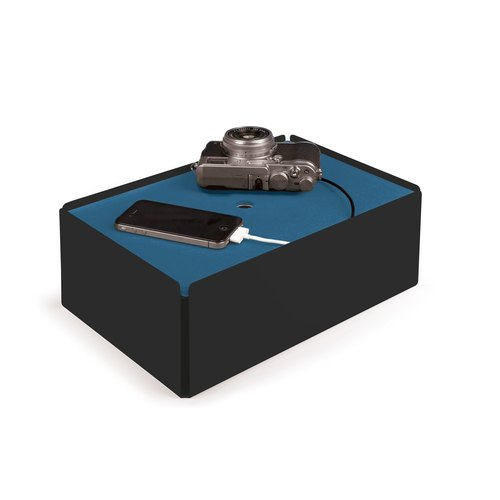 CHARGE-BOX black leather smoke blue