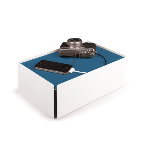 CHARGE-BOX white leather smoke blue