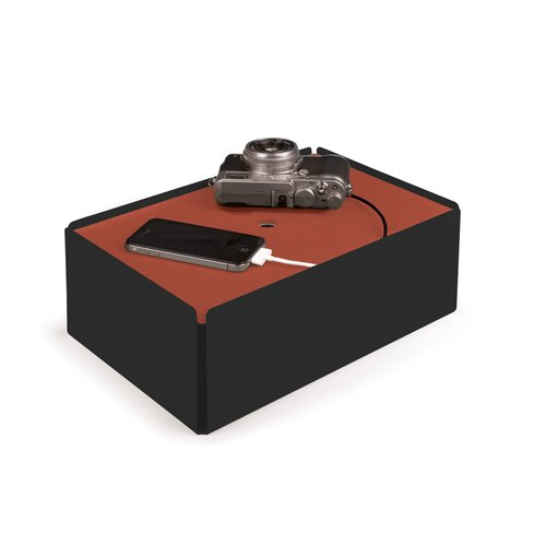 CHARGE-BOX black leather copper