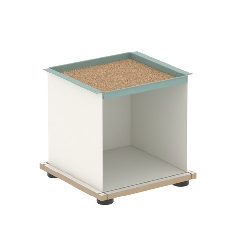 YU TRAY SHELF 1x1 / MDF white / white, turquoise