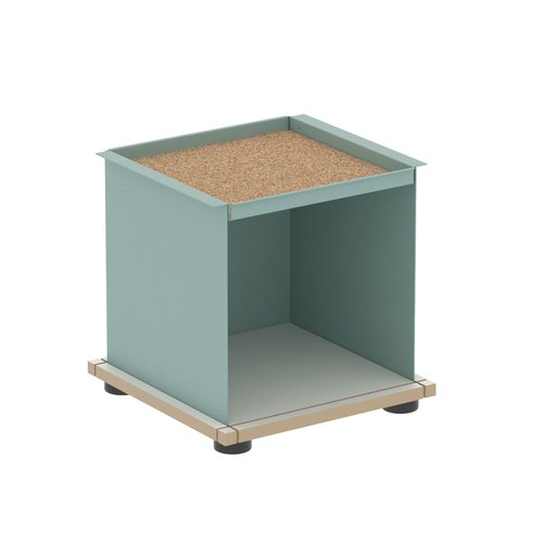 YU TRAY SHELF 1x1 / MDF white / turquoise