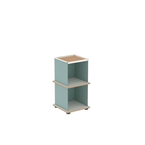 YU TRAY SHELF 1x2 / MDF white / turquoise, white