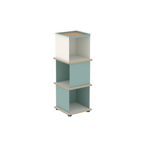 YU TRAY SHELF 1x3 / MDF white / turquoise, white