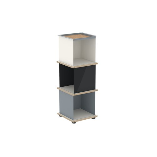 YU TRAY SHELF 1x3 / MDF white / white, grey, black
