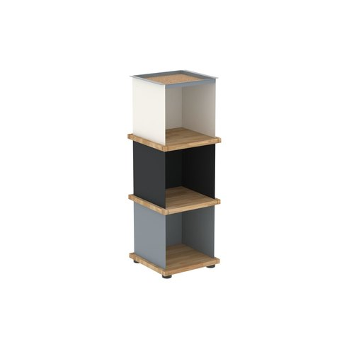 YU TRAY SHELF 1x3 / oak tree oiled / white, grey, black