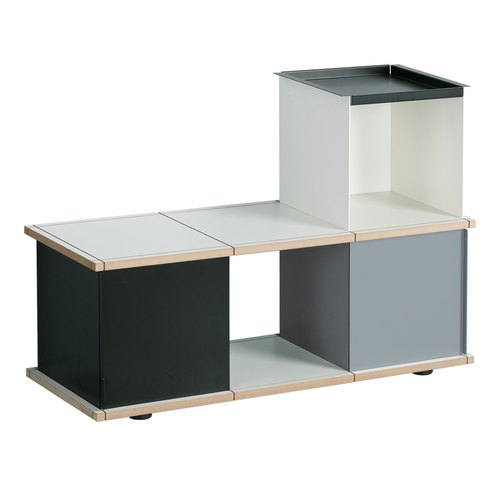 YU BENCH 3x1 / MDF white / white, grey, black