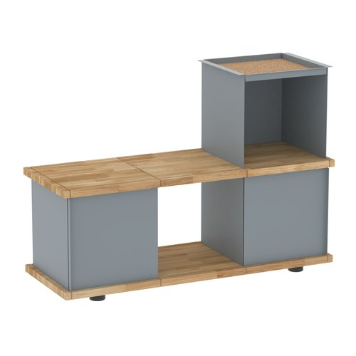 YU BENCH 3x1 / oak tree oiled / grey