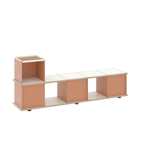 YU BENCH 5x1 / MDF white / white, beige red