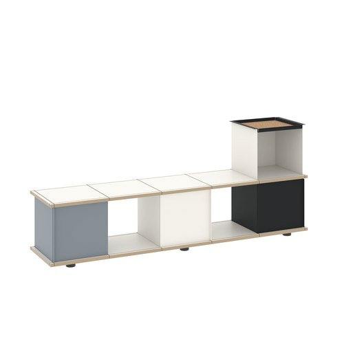 YU BENCH 5x1 / MDF white / white, grey, black