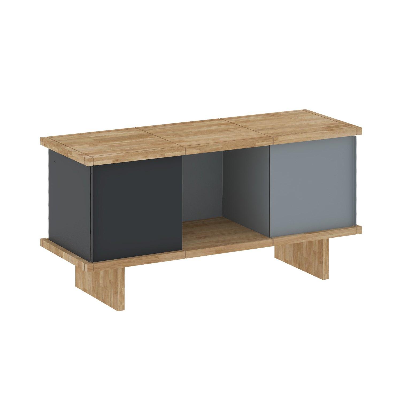yu sideboard 3x1 eiche ge lt grau schwarz. Black Bedroom Furniture Sets. Home Design Ideas