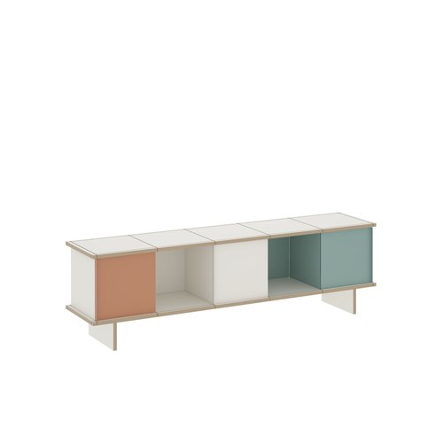 YU SIDEBOARD / 5x1 / MDF white / white, turquoise, beige red