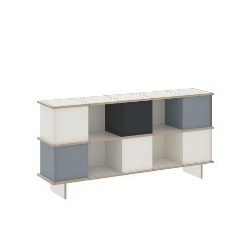 YU SIDEBOARD / 5x2 / MDF white / white, grey, black